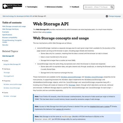 Web Storage API - Web APIs | MDN
