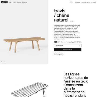 Banc Travis chêne naturel B1068 - Kann Design