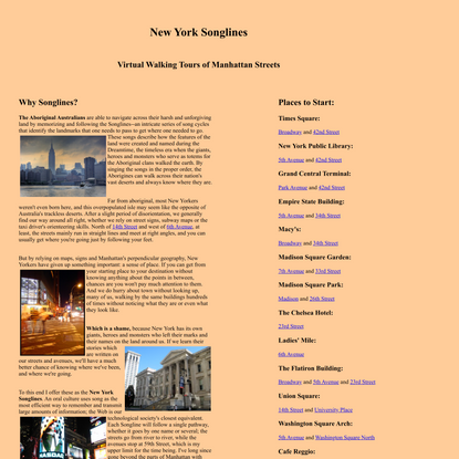New York Songlines: Virtual Walking Tours of Manhattan Streets