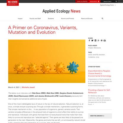 A Primer on Coronavirus, Variants, Mutation and Evolution | Applied Ecology | NC State University