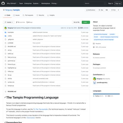 GitHub - fergusq/tampio: Tampio: An object-oriented programming language made to resemble Finnish