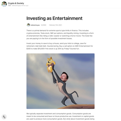 Investing as Entertainment — Mirror