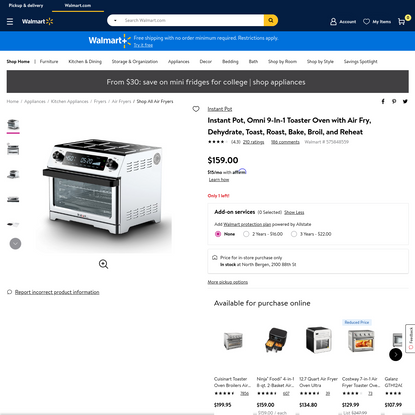 Instant Pot, Omni 9-In-1 Toaster Oven with Air Fry, Dehydrate, Toast, Roast, Bake, Broil, and Reheat - Walmart.com - Walmart.com