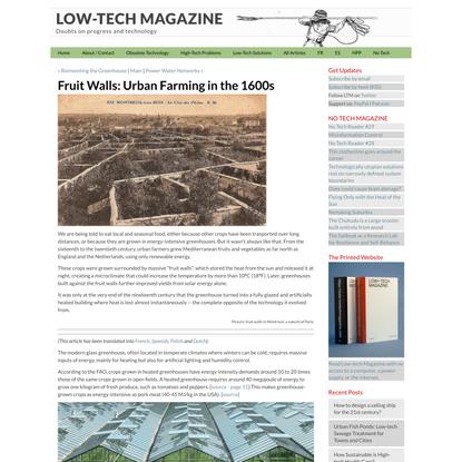 Fruit Walls: Urban Farming in the 1600s - LOW-TECH MAGAZINE