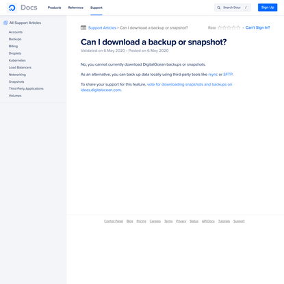 Can I download a backup or snapshot? | DigitalOcean Documentation