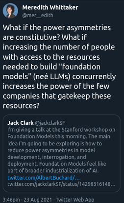 """Meredith Whittaker on Twitter: """"What if the power asymmetries are constitutive? What if increasing the number of people with..."""