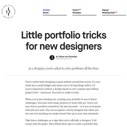 Little portfolio tricks for new designers