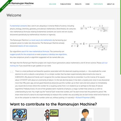 The Ramanujan Machine – Using algorithms to discover new mathematics