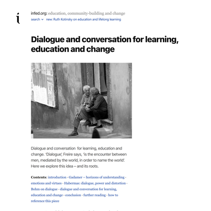 Dialogue and conversation for learning, education and change – infed.org: