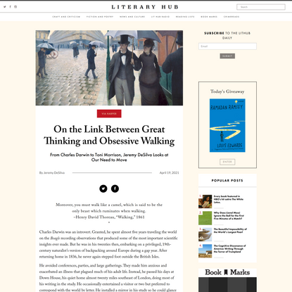 On the Link Between Great Thinking and Obsessive Walking
