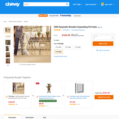 GMI Keepsafe Wooden Expanding Pet Gate, 9-ft wide - Chewy.com