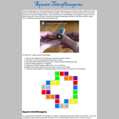 Square Tetraflexagons