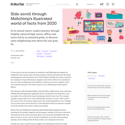 Side-scroll through Mailchimp's illustrated world of facts from 2020