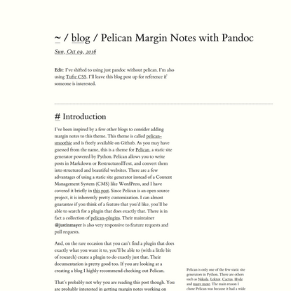 Pelican Margin Notes with Pandoc
