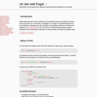 Site web frugal