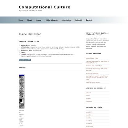 Inside Photoshop | Computational Culture