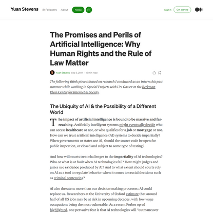 The Promises & Perils of AI: Why Human Rights and the Rule of Law Matter