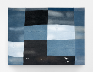 Emma McIntyre Grid (denims), 2018 stitched and stretched recycled denim 1600 x 2200mm