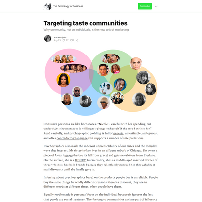Targeting taste communities - by Ana Andjelic - The Sociology of Business