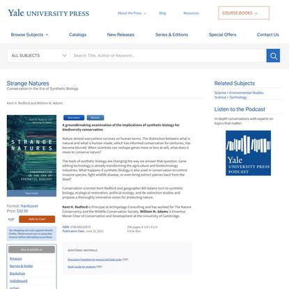 Strange Natures   Yale University Press