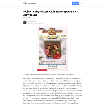 Review: Baby-Sitters Club Super Special #7 - Snowbound