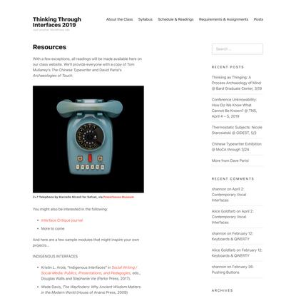 Resources – Thinking Through Interfaces 2019