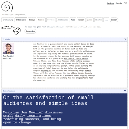 On the satisfaction of small audiences and simple ideas