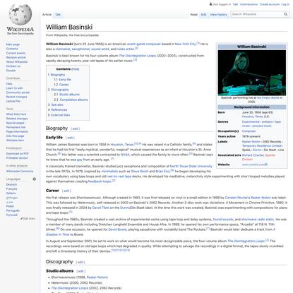 William Basinski - Wikipedia