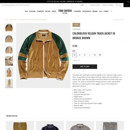 Colorblock Velour Track Jacket in Bronze Brown