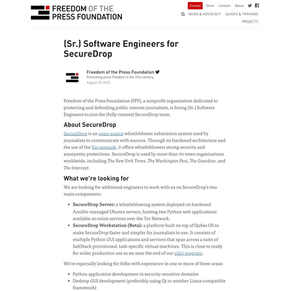 SecureDrop, (Sr.) Software Engineers