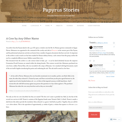 A Cow by Any Other Name – Papyrus Stories