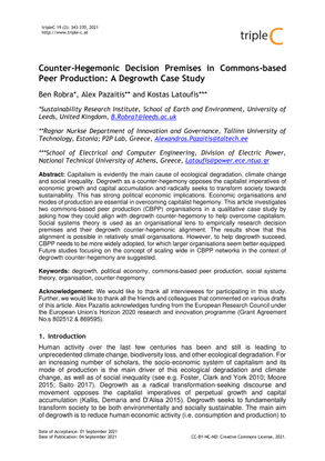 Counter-Hegemonic Decision Premises in Commons-Based Peer Production: A Degrowth Case Study