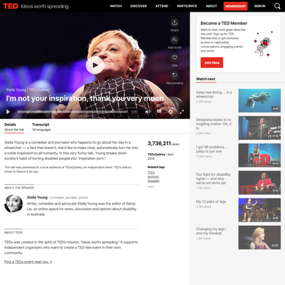 Stella Young: I'm not your inspiration, thank you very much   TED Talk