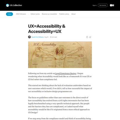 UX=Accessibility & Accessibility=UX