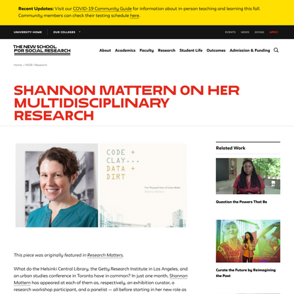 Shannon Mattern on Her MultiDisciplinary Research | The New School for Social Research