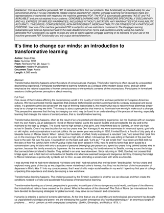 It's time to change our minds: an introduction to transformative learning