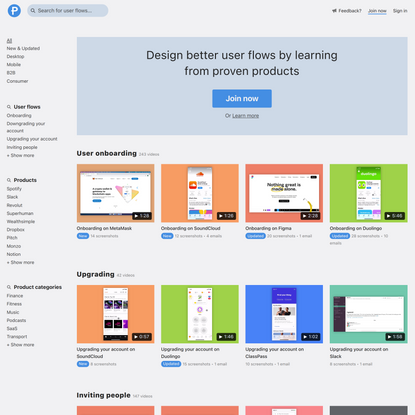 Page Flows - user flow design inspiration
