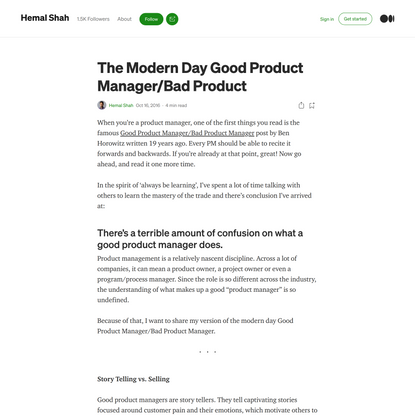The Modern Day Good Product Manager/Bad Product