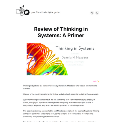 Review of Thinking in Systems: A Primer