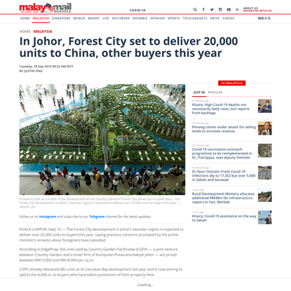 In Johor, Forest City set to deliver 20,000 units to China, other buyers this year | Malay Mail