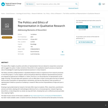 The Politics and Ethics of Representation in Qualitative Research   Ad