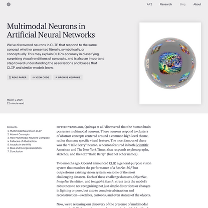 Multimodal Neurons in Artificial Neural Networks