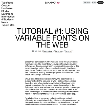 Tutorial #1: Using Variable Fonts on the Web