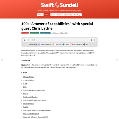 """100: """"A tower of capabilities"""", with special guest Chris Lattner 
