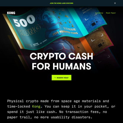 Kong - Physical Crypto Cash
