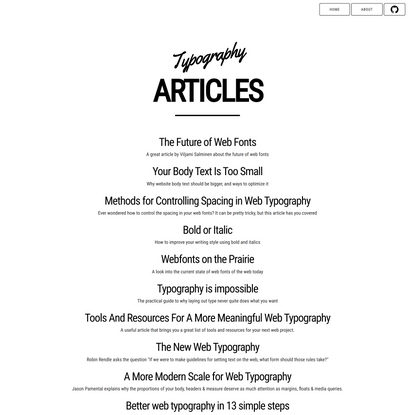 Web Typography - Articles