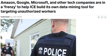 Amazon, Google, Microsoft, and other tech companies are in a 'frenzy' to help ICE build its own data-mining tool for targeti...