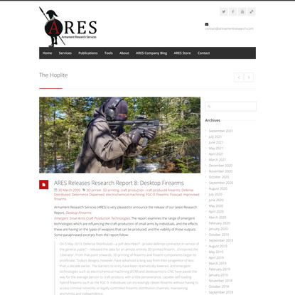 ARES Releases Research Report 8: Desktop Firearms - Armament Research Services (ARES)