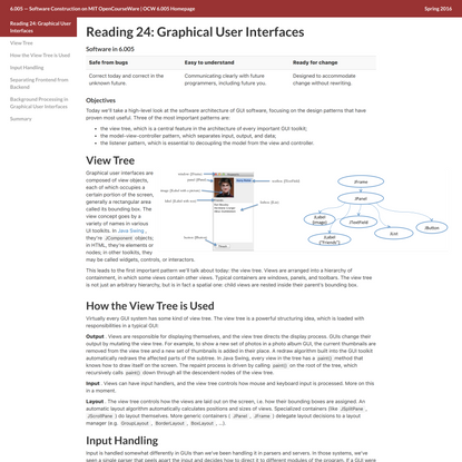 Reading 24: Graphical User Interfaces
