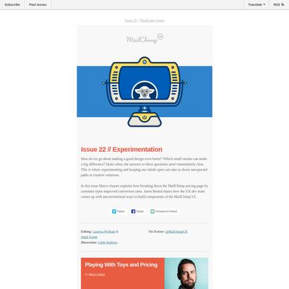 MailChimp UX Issue 22 - Experimentation